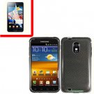 For Samsung Galaxy S II Epic 4G Touch D710 Cover Hard Case Carbon Fiber +Screen 2 in1
