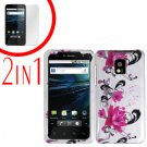 For LG T-Mobile G2x Cover Hard Case W-Flower +Screen 2-in-1