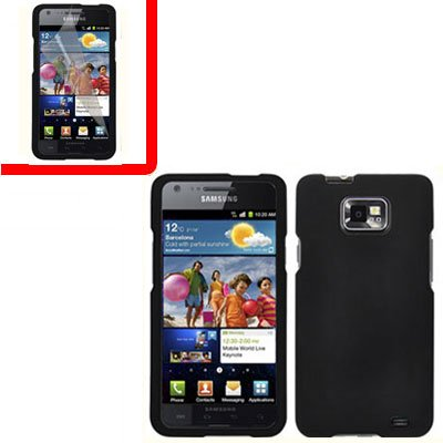For AT&T Samsung Galaxy S II SGH-i777 Cover Hard Case Black+Screen 2 in1