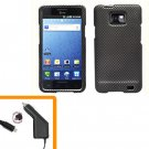 For AT&T Samsung Galaxy S II SGH-i777 Car Charger +Hard Case Carbon Fiber Cover