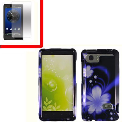 For HTC Vivid / Raider LTE 4G Cover Hard Phone Case B-Flower + Screen 2-in-1