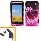 For HTC Rhyme Car Charger + Cover Hard Phone Case Love