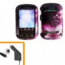 For Pantech Pursuit II Car Charger + Cover Hard Case L-Flower 2-in-1