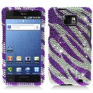 For AT&T Samsung Galaxy S II SGH-i777 Cover Hard Phone Case Crystal Bling Purple Zebra