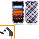 For Samsung Exhibit II 4G T679 Car Charger +Hard Cover Case Purple Plaid
