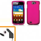 For Samsung Galaxy W i8150 Car Charger +Hard Cover Case Hot Pink