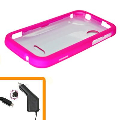 For HTC Rezound 4G Car Charger +Cover Hard Case H-Pink 2-in-1