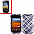 For Samsung Exhibit II 4G T679 Cover Hard Case Purple Plaid +Screen Protector
