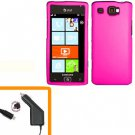 For Samsung Focus Flash Car Charger +Hard Cover Case H-Pink