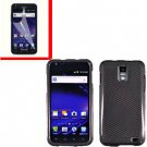 For AT&T Samsung Galaxy S II Skyrocket Cover Hard Case Carbon Fiber +Screen