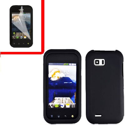 For LG MyTouch Q 4G Cover Hard Case Rubberized Black +Screen