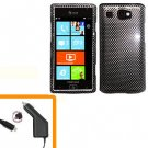 For AT&T Samsung Focus Flash Car Charger +Hard Case Cover Carbon Fiber