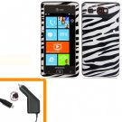 For AT&T Samsung Focus Flash Car Charger +Hard Case Cover Zebra