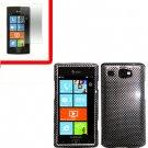 For Samsung Omnia W Cover Hard Case Carbon Fiber +Screen 2 in1