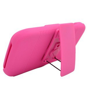For Samsung Galaxy S II SGH-T989 Cover Pink Case + Pink Holster Belt Clp +Stand 3 in 1