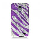 For Samsung Galaxy S II Skyrocket Cover Hard Case Crystal Bling Purple Zebra