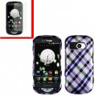 For Pantech Breakout 4G Cover Hard Case Purple Plaid +Screen 2-in-1
