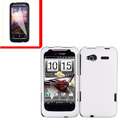 For HTC Radar 4G Cover Hard Case White +Screen Protector 2-in-1