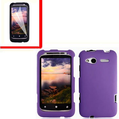 For HTC Radar 4G Cover Hard Case Purple +Screen Protector 2-in-1