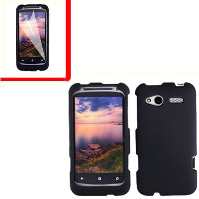 For HTC Radar 4G Cover Hard Case Black +Screen Protector 2-in-1