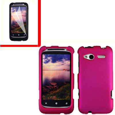 For HTC Radar 4G Cover Hard Case R-Pink +Screen Protector 2-in-1