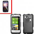 For HTC Radar 4G Cover Hard Case Carbon Fiber +Screen Protector 2-in-1