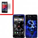 For Motorola Droid Razr Cover Hard Case B-Flower +Screen 2-in-1