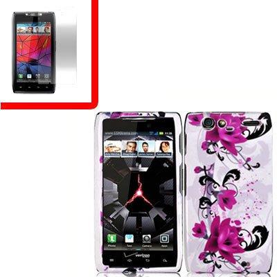 For Motorola Razr Cover Hard Case W-Flower +Screen 2-in-1