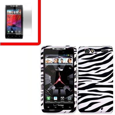 For Motorola Droid Razr Cover Hard Case Zebra +Screen 2-in-1