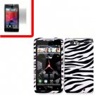 For Motorola Droid Razr Cover Hard Case Zebra +Screen 2-in-1