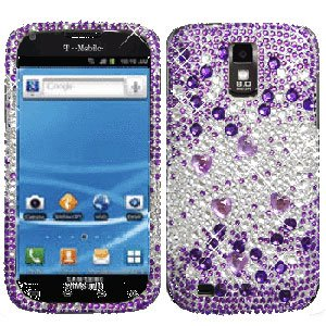 For T-Mobile Samsung Galaxy S II SGH-T989 Cover Hard Phone Case Crystal Bling Purple heart