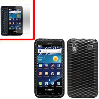 For Samsung Captivate Glide Cover Hard Case Carbon Fiber +Screen 2 in1