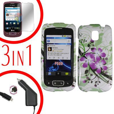 For LG Optimus One P500 Screen +Car Charger +Cover Hard Case G-Lily 3-in-1
