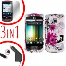 For LG Optimus One P500 Screen +Car Charger +Cover Hard Case W-Flower 3-in-1