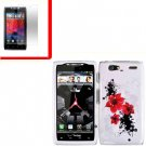 For Motorola Droid Razr Maxx Cover Hard Case R-Lily +Screen 2-in-1