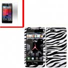 For Motorola Droid Razr Maxx Cover Hard Case Zebra +Screen 2-in-1