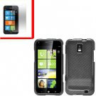 For Samsung Focus S Cover Hard Case Carbon Fiber +Screen 2 in1