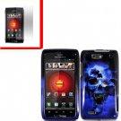 For Motorola Droid 4 XT894 Cover Hard Case Blue Skull +Screen 2-in-1