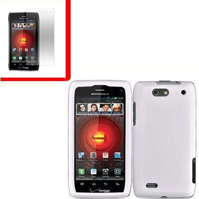 For Motorola Droid 4 XT894 Cover Hard Case White +Screen 2-in-1