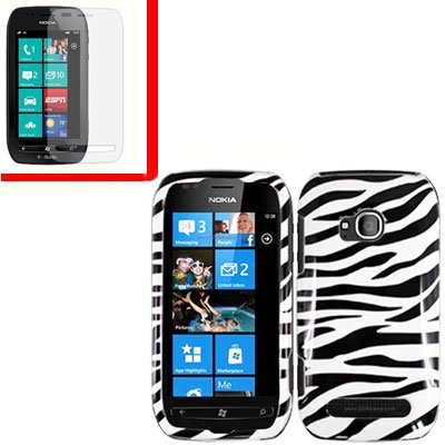 For Nokia Lumia 710 Cover Hard Zebra Case +Screen Protector