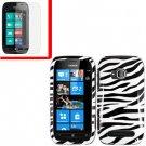 For Nokia Lumia 710 Cover Hard Zebra Case +Screen Protector