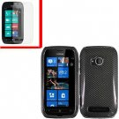 For Nokia Lumia 710 Cover Hard Carbon Fiber Case +Screen Protector