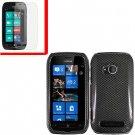 For Nokia Lumia 710 Cover Hard Carbon Fiber Case +Screen Protector