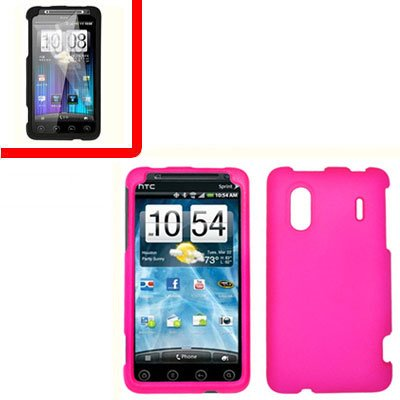 For HTC Hero S Cover Hard Phone Case Hot Pink + Screen Protector 2-in-1