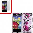 For Verizon LG Lucid 4G LTE Cover Hard Case W-Flower +Screen 2in1