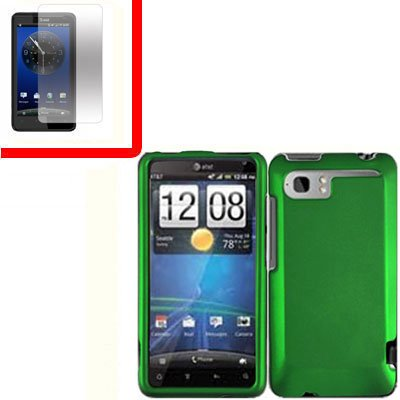 For HTC Vivid / Raider LTE 4G Cover Hard Phone Case Green + Screen 2-in-1