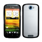 For HTC One S Case Soft Edge Black/ Transparent Clear Hard Cover