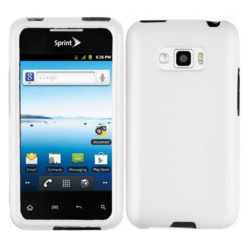 For LG Optimus Elite Cover Hard Phone Case White +Screen Protector