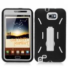 For Samsung Galaxy Note Cover Hard White/ Soft Black Armor Case W/Stand