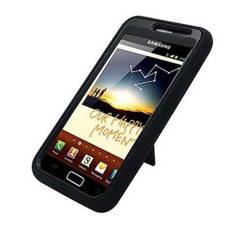 For Samsung Galaxy Note Cover Hard Black/ Soft Black Armor Case W/Stand